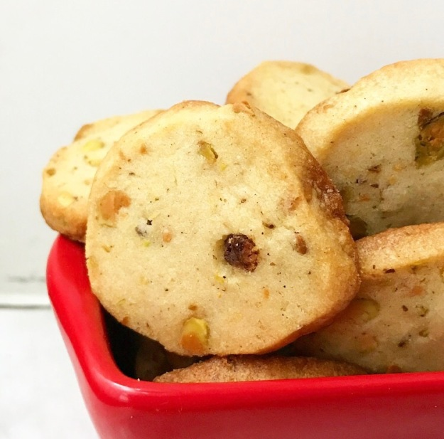 Orange Cardamom Pistachio Shortbread