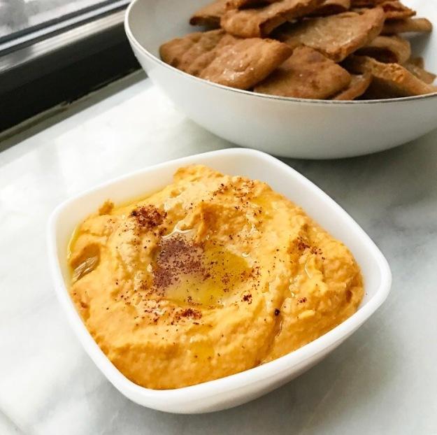 Chipotle-Sweet Potato Hummus & Homemade Pita Chips