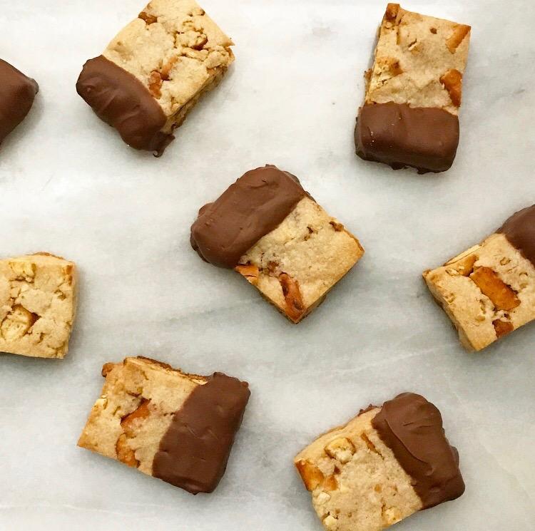 Chocolate-Dipped Pretzel Shortbread