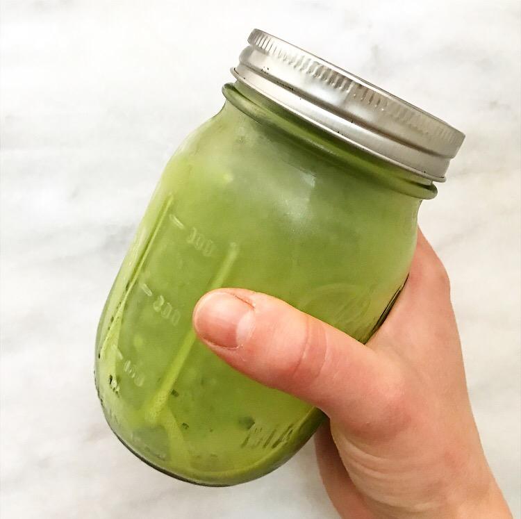 Iced Matcha Latte in a Mason Jar
