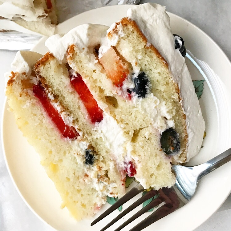 Red, White & Blueberry Cake