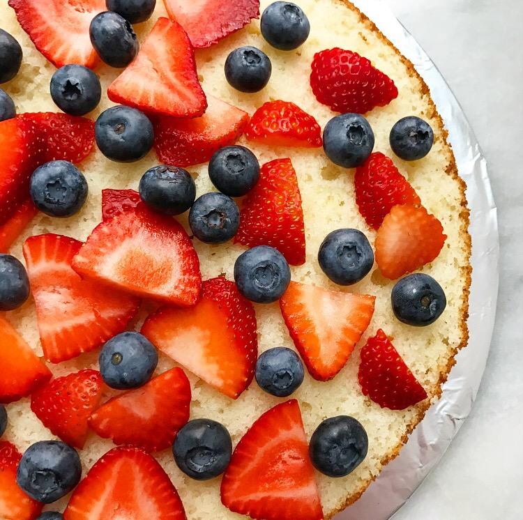 Red, White & Blueberry Cake