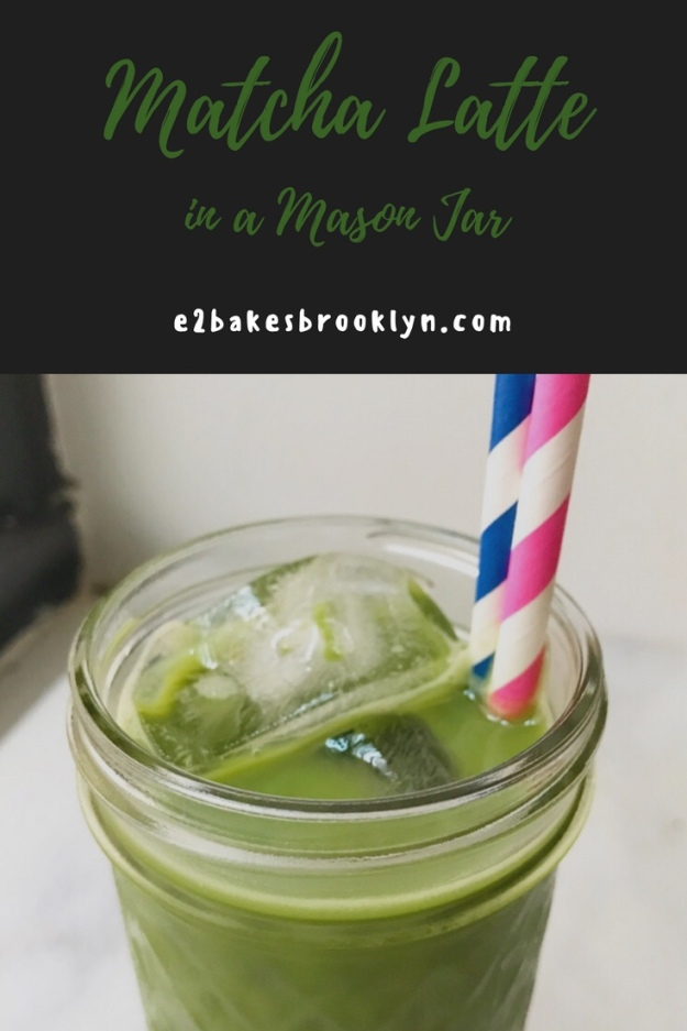 Iced Matcha Latte in a Mason Jar