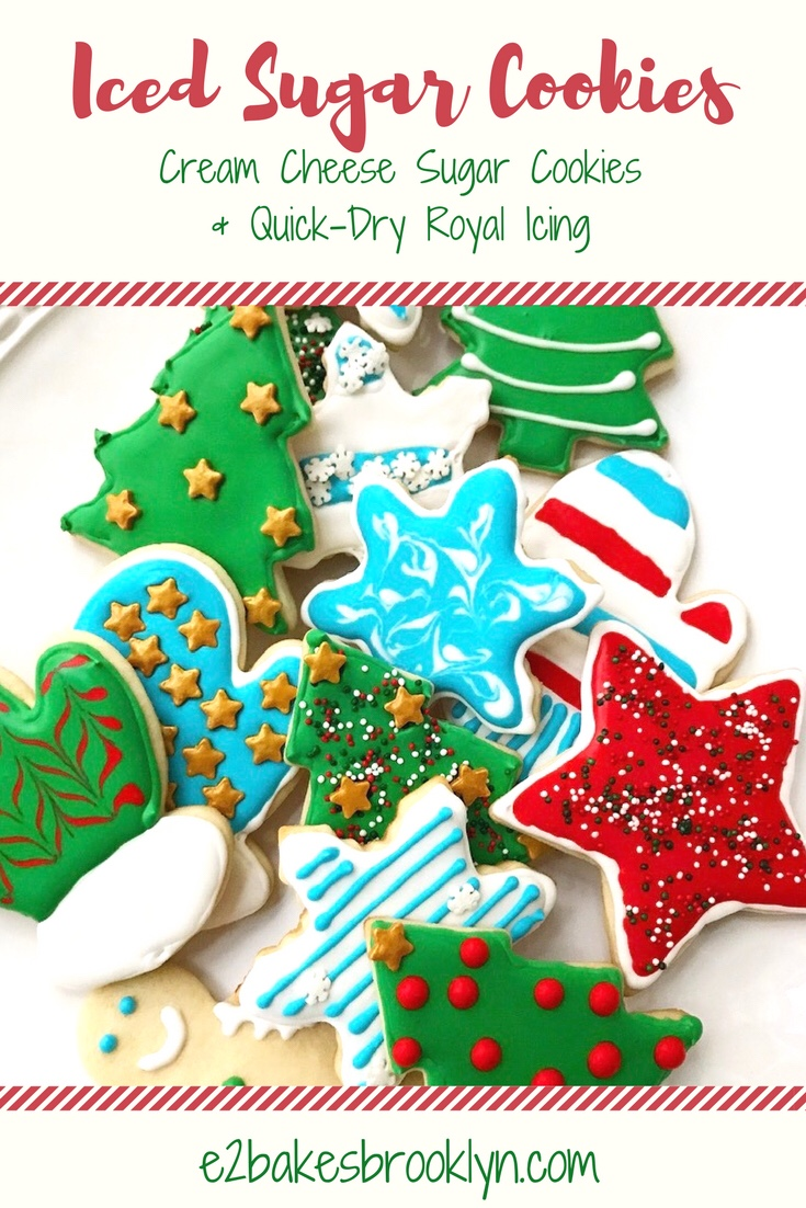 Iced Sugar Cookies {Cream Cheese Sugar Cookies & Quick-Dry Royal Icing}