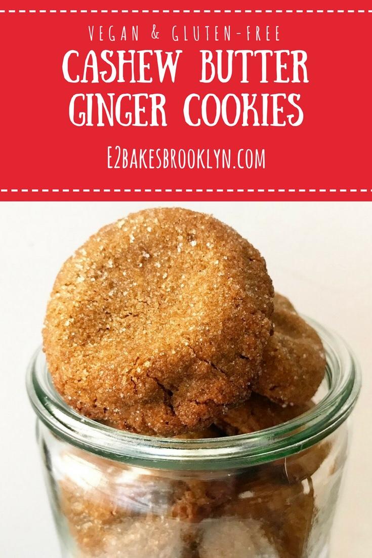 Cashew Butter Ginger Cookies {Vegan & Gluten-Free}