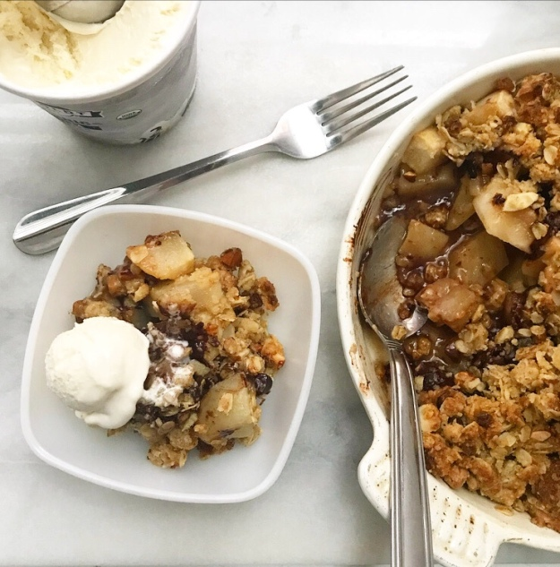 Pear Crisp with Chocolate & Ginger