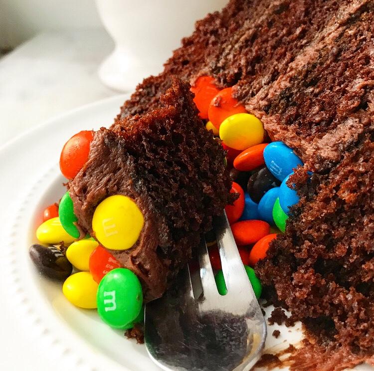 M&Ms Surprise Cake