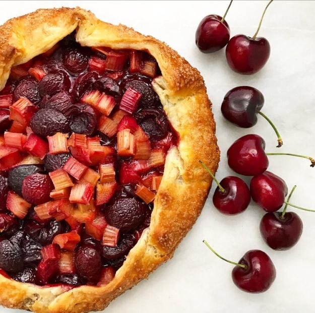 Sweet Cherry Rhubarb Galette