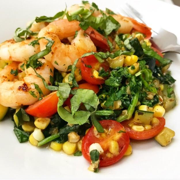 Shrimp, Corn & Zucchini Sauté