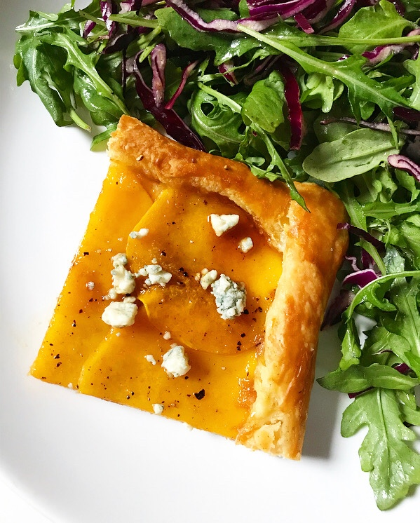 Butternut Squash Tart with Habanero Honey & Blue Cheese