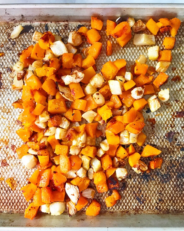 Roasted Butternut Squash Soup with Maple-Chile Butternut Seeds