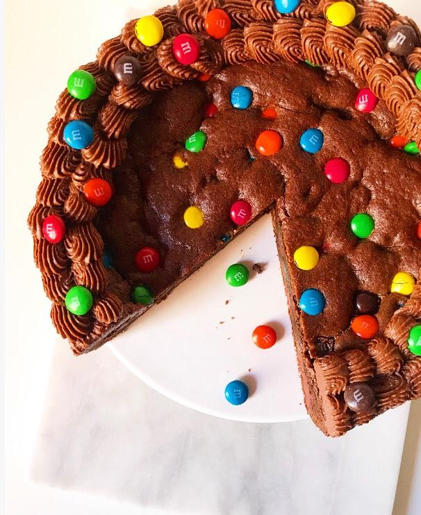 Chocolate M&Ms Cookie Cake