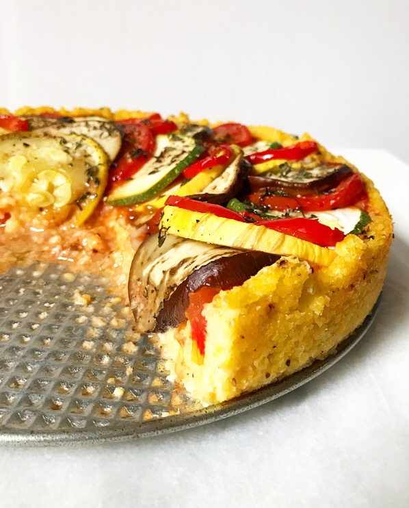 Ratatouille Tart with Polenta Crust {Gluten-Free, Plant-Based}