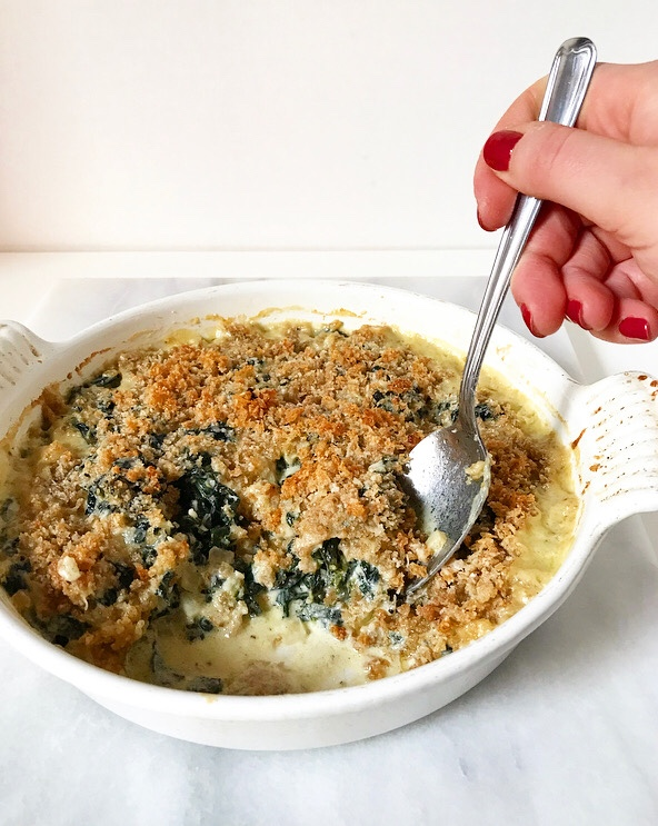 Creamed Kale with Crispy Breadcrumbs