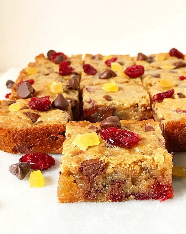 Chocolate Cranberry Ginger Blondies