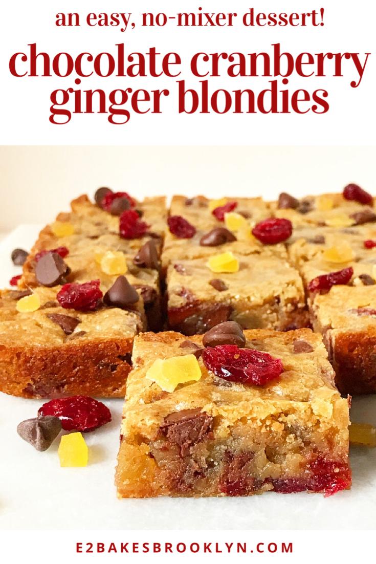 Chocolate Cranberry Ginger Blondies