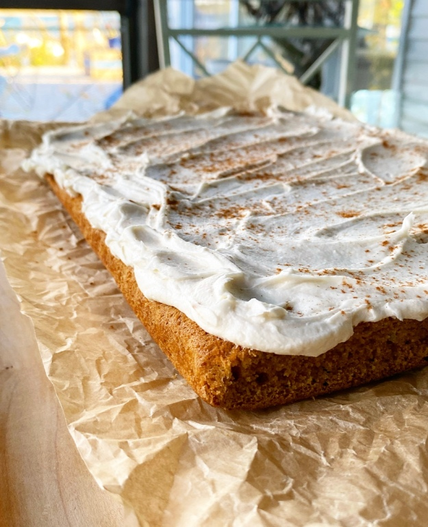 Pumpkin Sheet Cake with Maple Frosting {Vegan & Gluten-Free}