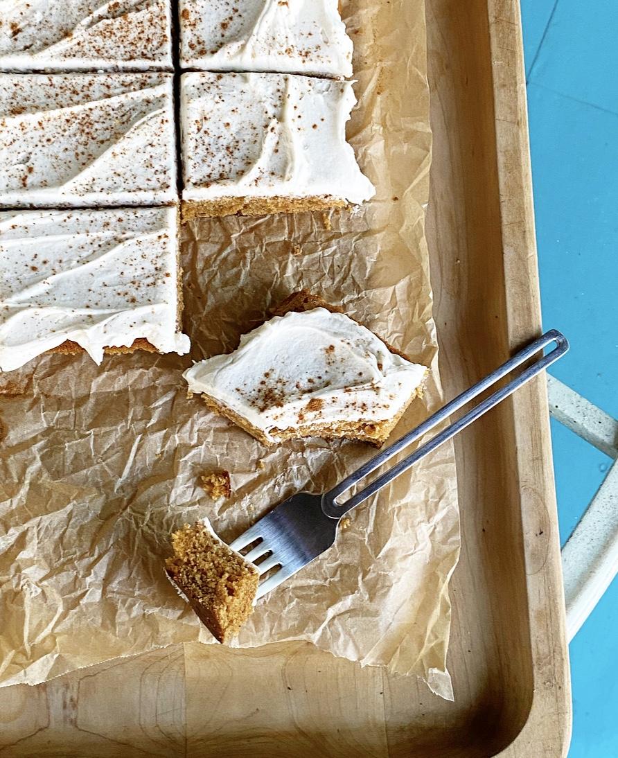 Pumpkin Sheet Cake with Maple Frosting {Vegan & Gluten-Free}