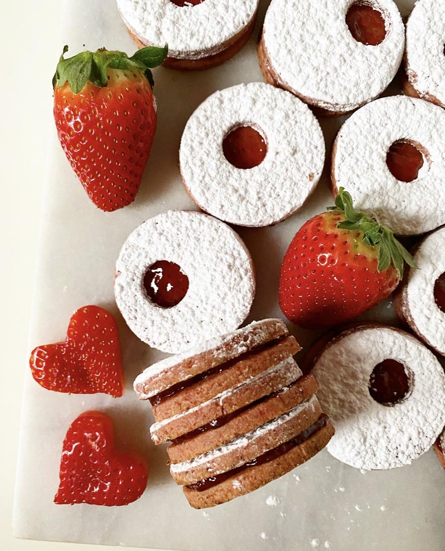 Double Strawberry Linzer Cookies