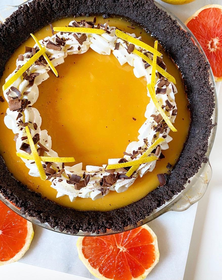 Grapefruit Pie with Oreo Crust