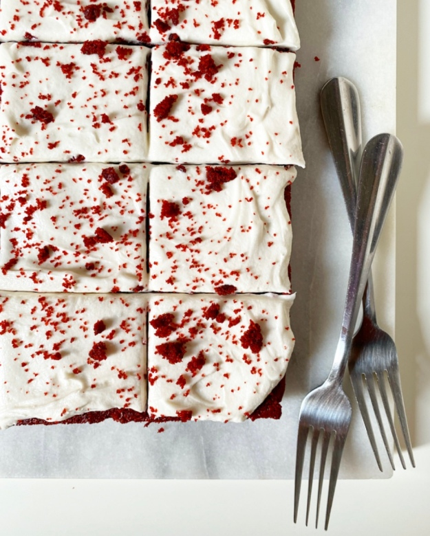 Red Velvet Sheet Cake with Cream Cheese Frosting {Vegan & Gluten-Free}