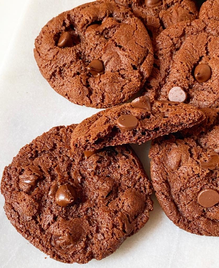 Crispy, Crunchy Double Chocolate Cookies